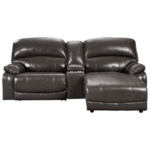 Leather Match 3-Piece Reclining Sectional w/ Right Chaise & Console