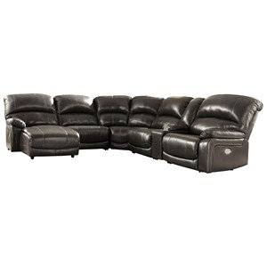 Leather Match 6-Piece Reclining Sectional with Left Chaise & Console
