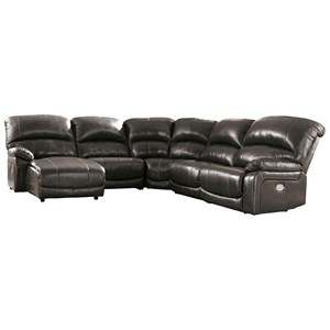 Leather Match 5-Piece Reclining Sectional with Left Chaise