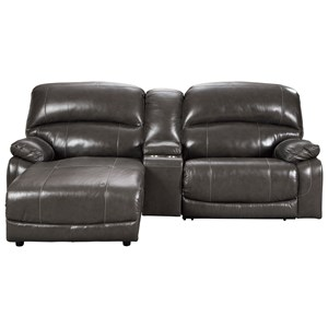 Leather Match 3-Piece Reclining Sectional w/ Left Chaise & Console