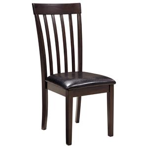 Upholstered Side Chair with Dark Brown Vinyl Seat and Slat Back