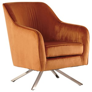 Mid-Century Modern Rust Velvet Swivel Accent Chair