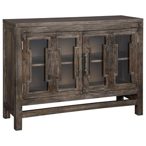 Antique Brown Finish Accent Cabinet with Cut-Out Glass Doors