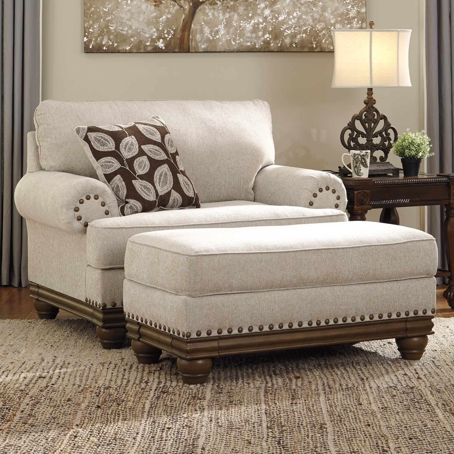 Harleson Chair and a Half & Ottoman by Signature at Walker's Furniture