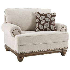 Transitional Chair and a Half with Nailhead Trim