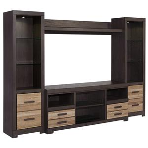 Large TV Stand & 2 Tall Piers with Bridge