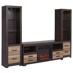 Large TV Stand with Fireplace Insert & 2 Tall Piers