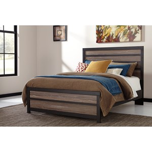 Rustic Queen Panel Bed with Two-Tone Plank Look