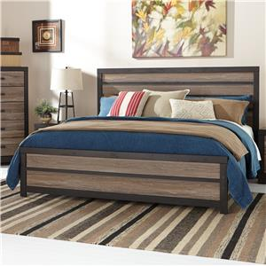Rustic King Panel Bed with Two-Tone Plank Look