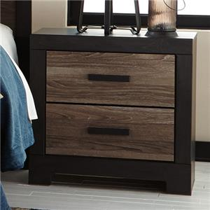 Rustic 2-Drawer Nightstand with USB Charger