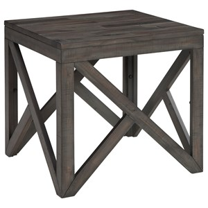 Square End Table with Butcher Block Style Top