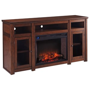 Mango Veneer Extra Large TV Stand with Fireplace Insert & Glass Doors