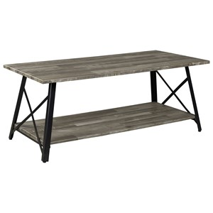 Contemporary Rectangular Cocktail Table with Metal Base