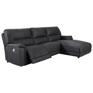 Power Reclining Sectional with Chaise and Built-in USB Port