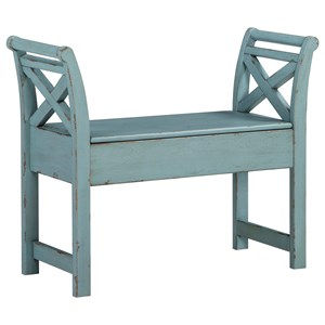 Antique Finish Accent Bench with Storage
