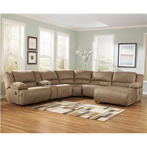 6 Piece Motion Sectional with Right Chaise and Console