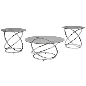 Occasional Table Set with Tempered Glass Table Top