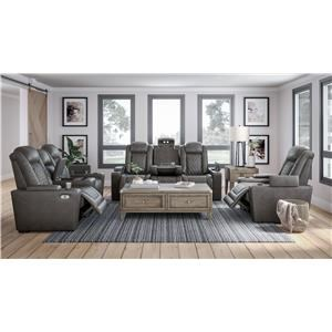 Grey Faux Leather Power Reclining Sofa and Power Recliner Set