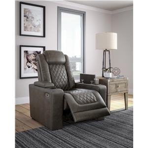 2 Grey Faux Leather Power Recliner Set