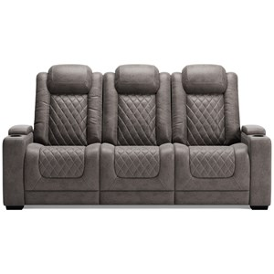 Faux Leather Power Reclining Sofa with Adj Headrests