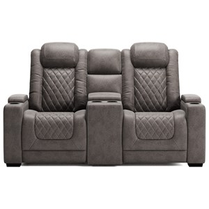 Faux Leather Pwr Rec Loveseat with Console and Adj Hdrsts