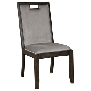 Dining Upholstered Side Chair with Gray Velvet Fabric