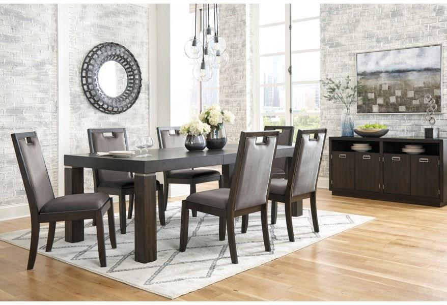 Hyndell 7-Piece Rectangular Dining Table Set by Signature Design by Ashley at Darvin Furniture