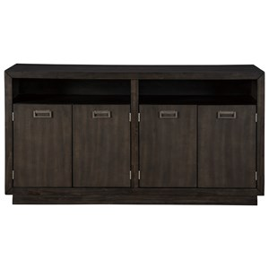 Contemporary Dining Room Server with Metal Accents in Dark Espresso Finish