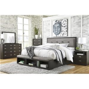King Upholstered Storage Bed, Dresser, Mirror and Nightstand Package