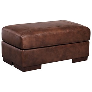 Contemporary Leather Match Ottoman