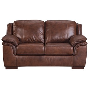 Contemporary Leather Match Loveseat