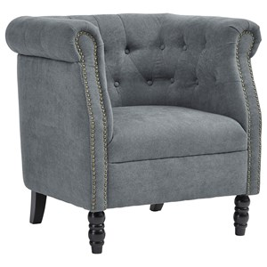 Button-Tufted Barrel Back Accent Chair