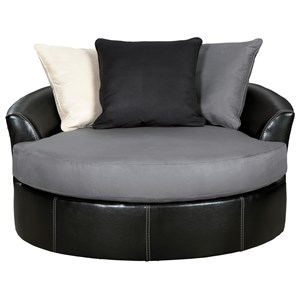 Contemporary Round Oversized Swivel Accent Chair