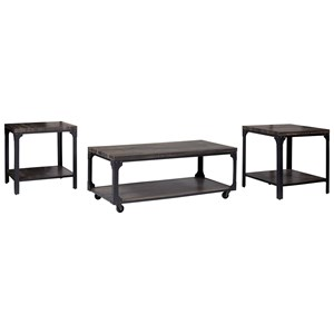 Rustic Industrial 3-Piece Occasional Table Set