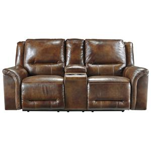Signature Design by Ashley Jayron Double Reclining Power Loveseat w/ Console