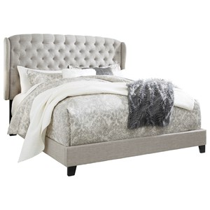 King Upholstered Bed with Tufted Wing Headboard