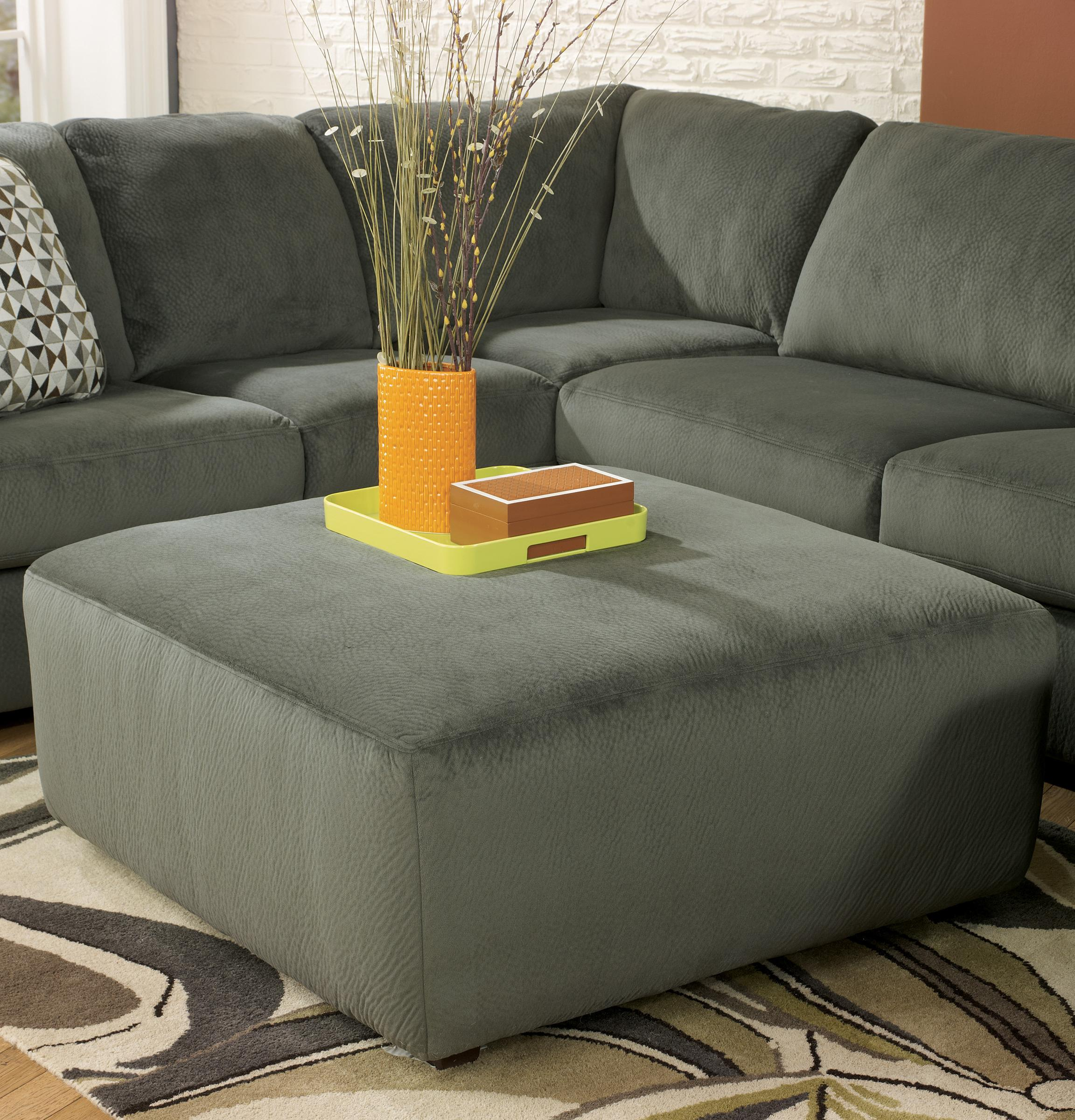 Jessa Place - Pewter Oversized Accent Ottoman by Signature Design by Ashley at Lapeer Furniture & Mattress Center