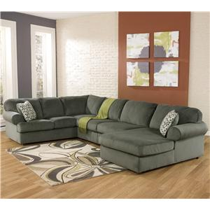 Signature Design by Ashley Jessa Place - Pewter Sectional Sofa with Right Chaise