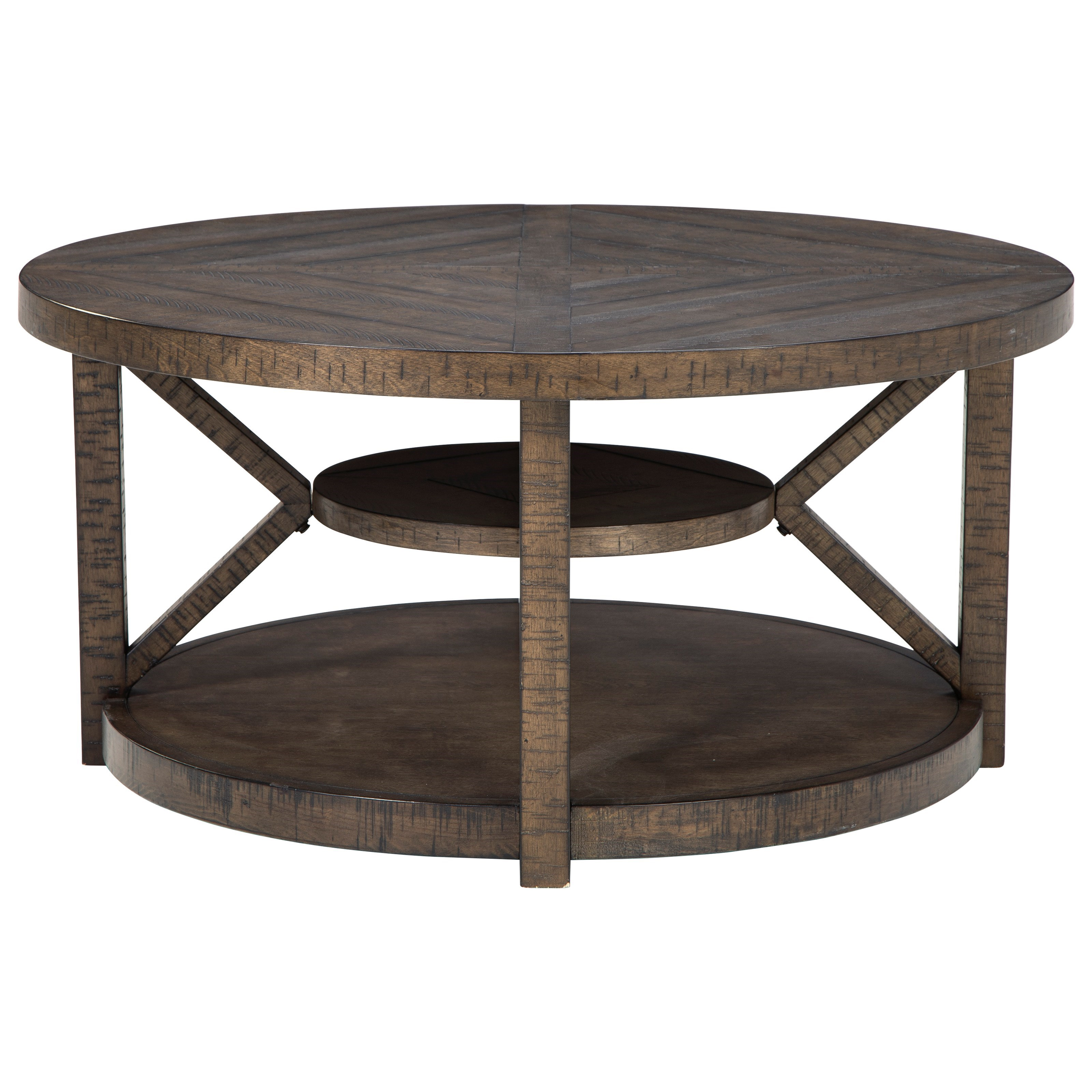 Mill Creek Round Cocktail Table by Signature at Walker's Furniture