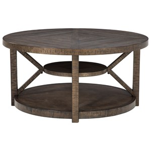Rustic Round Cocktail Table with Casters