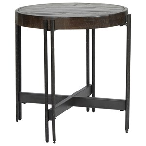 Contemporary Round Metal and Wood End Table