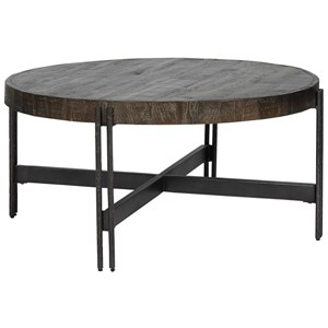 Contemporary Round Metal and Wood Cocktail Table