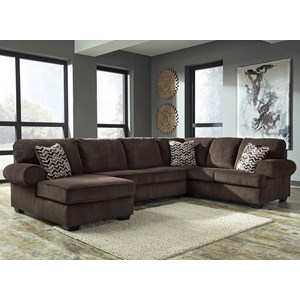 Contemporary 3-Piece Sectional with Left Chaise in Corduroy Fabric