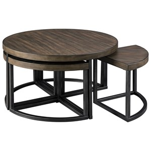Contemporary Metal/Wood Round Cocktail Table w/ 4 Stools