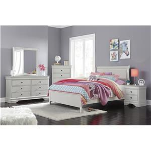 Full Upholstered Sleigh Bed, Dresser, Mirror and Nightstand Package