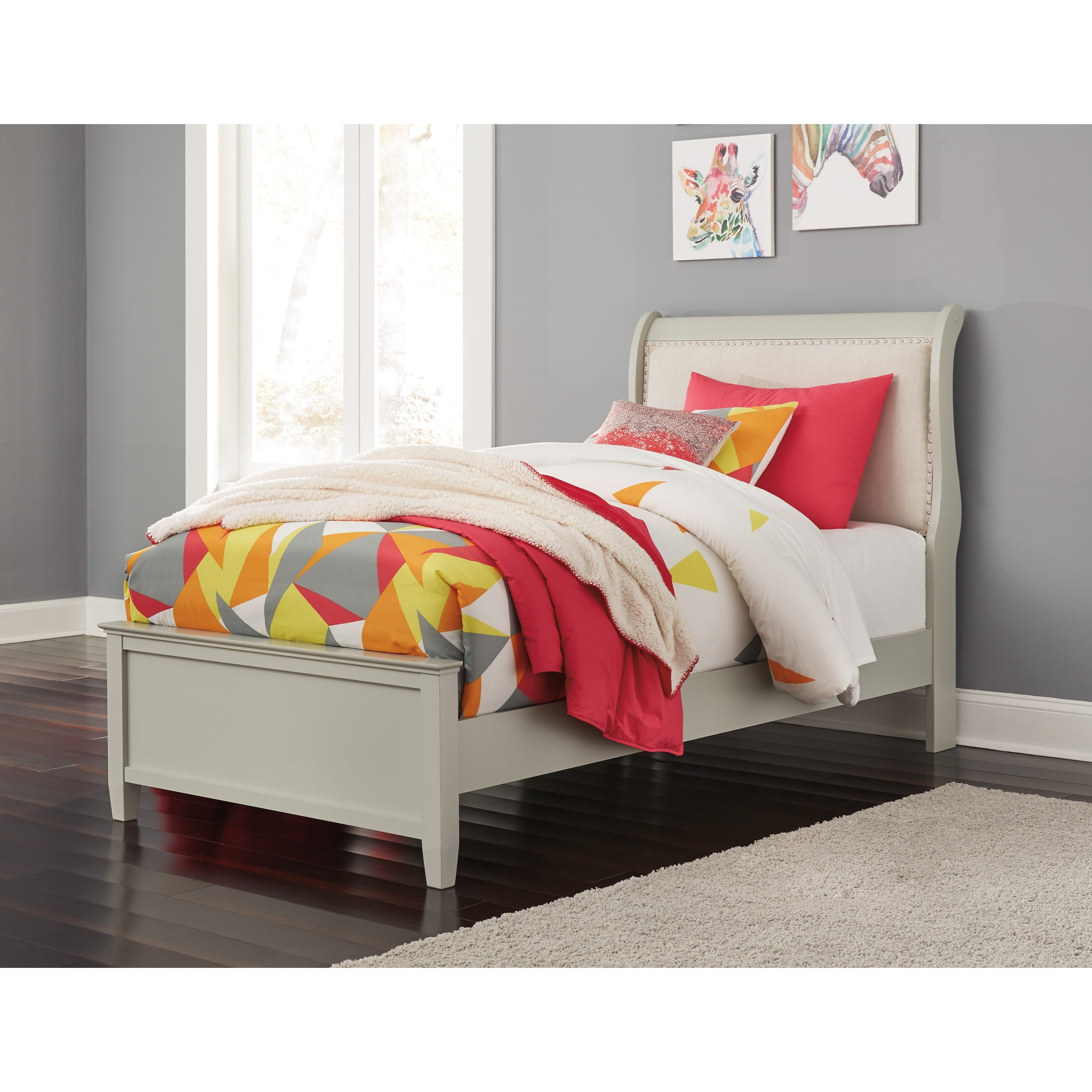 Jorstad Twin Upholstered Sleigh Bed by Ashley (Signature Design) at Johnny Janosik