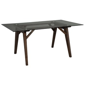 Rectangular Dining Room Table with Glass Top