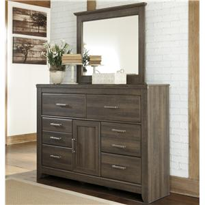 6-Drawer & 1-Door Dresser and Mirror Set