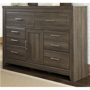 6-Drawer Dresser with 1 Door & Adjustable Shelf