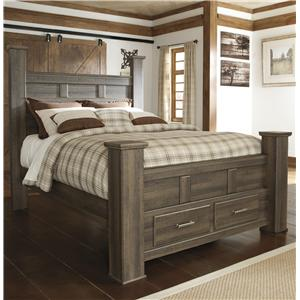 Transitional Queen Poster Bed with Footboard Storage